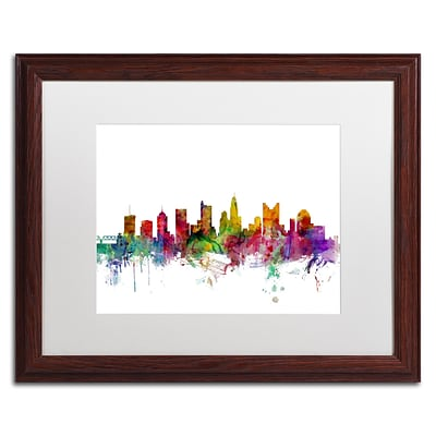 Trademark Fine Art Columbus Ohio Skyline by Michael Tompsett 16 x 20 White Matted Wood Frame (MT0572-W1620MF)