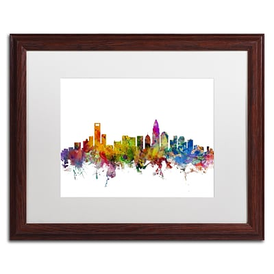 Trademark Fine Art Charlotte North Carolina Skyline by Michael Tompsett 16 x 20 Wood Frame (MT0573-W1620MF)