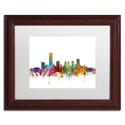 Trademark Fine Art Oklahoma City Skyline by Michael Tompsett 11 x 14 White Matted Wood Frame (MT0574-W1114MF)