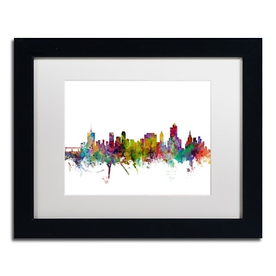 Trademark Fine Art Tulsa Oklahoma Skyline by Michael Tompsett 11 x 14 White Matted Black Frame (MT0576-B1114MF)