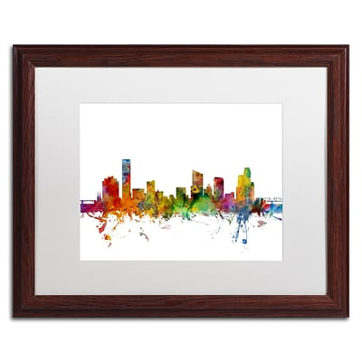 Trademark Fine Art Grand Rapids Michigan Skyline by Michael Tompsett 16 x 20 White Matted Wood Frame (MT0581-W1620MF)