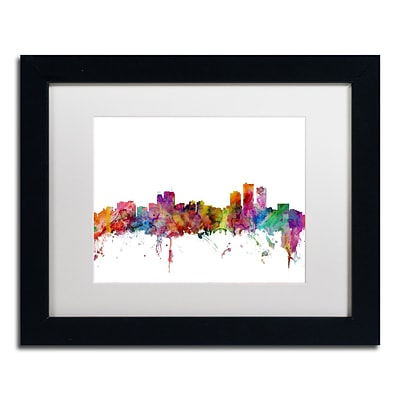 Trademark Fine Art Anchorage Alaska Skyline by Michael Tompsett 11 x 14 White Matted Black Frame (MT0583-B1114MF)