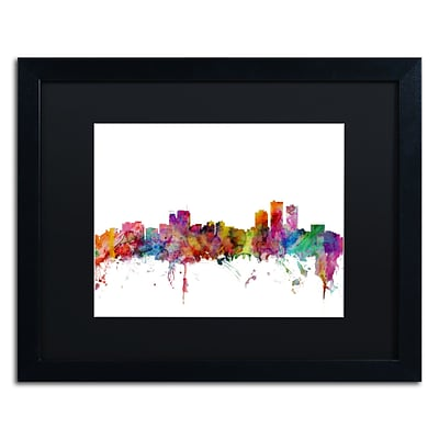 Trademark Fine Art Anchorage Alaska Skyline by Michael Tompsett 16 x 20 Black Matted Black Frame (MT0583-B1620BMF)