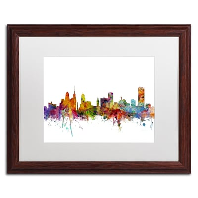 Trademark Fine Art Buffalo New York Skyline by Michael Tompsett 16 x 20 White Matted Wood Frame (MT0585-W1620MF)