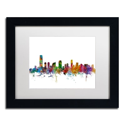 Trademark Fine Art Jersey City New Jersey Skyline by Michael Tompsett 11 x 14 Black Frame (MT0594-B1114MF)
