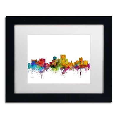 Trademark Fine Art El Paso Texas Skyline by Michael Tompsett 11 x 14 White Matted Black Frame (MT0598-B1114MF)
