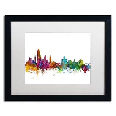 Trademark Fine Art Albany New York Skyline by Michael Tompsett 16 x 20  Black Frame (MT0599-B1620MF)