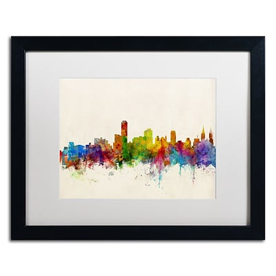 Trademark Fine Art Adelaide Australia Skyline by Michael Tompsett 16 x 20  Black Frame (MT0603-B1620MF)