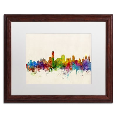 Trademark Fine Art Adelaide Australia Skyline by Michael Tompsett 16 x 20  Wood Frame (MT0603-W1620MF)