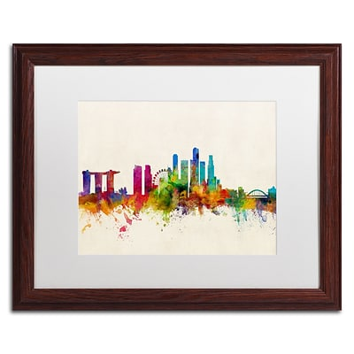Trademark Fine Art Singapore Skyline by Michael Tompsett 16 x 20 White Matted Wood Frame (MT0606-W1620MF)