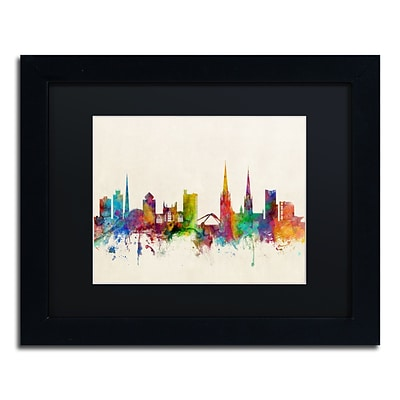Trademark Fine Art Coventry England Skyline by Michael Tompsett 11 x 14 Black Matted Black Frame (MT0609-B1114BMF)