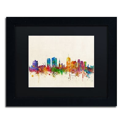 Trademark Fine Art Christchurch New Zealand Skyline by Michael Tompsett 11 x 14 Black Frame (MT0611-B1114BMF)