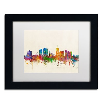 Trademark Fine Art Christchurch New Zealand Skyline by Michael Tompsett 11 x 14 Black Frame (MT0611-B1114MF)