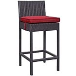 Modway Lift 27.5H Barstool; Espresso/Red