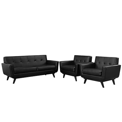 Modway Engage Leather Living Room Set; Black, 3 Pieces (EEI-1762-BLK-SET)