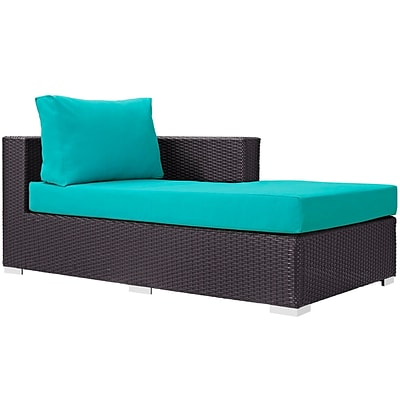 Modway Convene Outdoor Patio Right Arm Chaise; Espresso Turquoise (EEI-1843-EXP-TRQ)