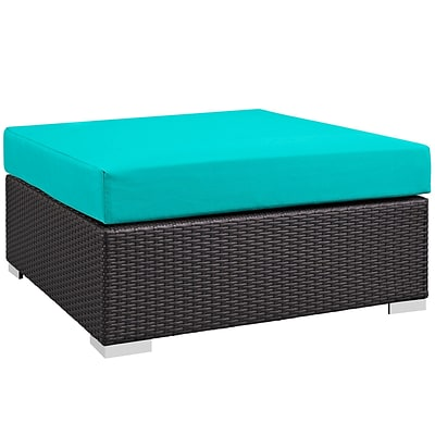 Modway Convene Outdoor Patio Square Ottoman; Espresso Turquoise (EEI-1845-EXP-TRQ)
