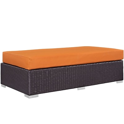 Modway Convene Outdoor Patio Rectangle Ottoman; Espresso Orange (EEI-1847-EXP-ORA)
