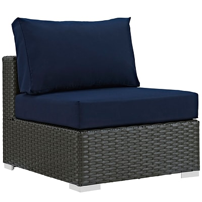 Modway Sojourn 35L Fabric Patio Armless Chair, Blue (EEI-1854-CHC-NAV)