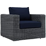 Summon 39W Outdoor Fabric Armchair; Blue