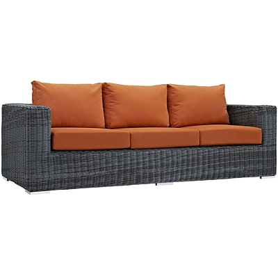 Modway Summon Outdoor Patio Sofa; Sunbrella Canvas Tuscan (EEI-1874-GRY-TUS)