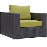 Modway Convene 37.5W Outdoor Patio Armchair with Fabric Cushion, Espresso/Green EEI-1906-EXP-PER
