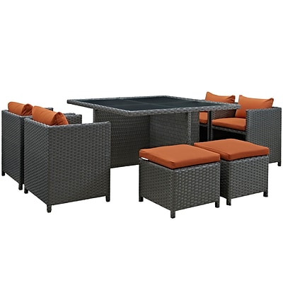 Modway Sojourn Outdoor Patio Dining Set; Sunbrella Canvas Tuscany (EEI-1946-CHC-TUS-SET)