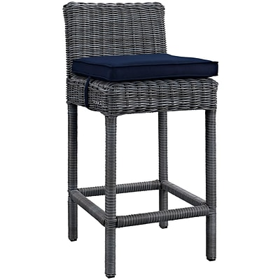 Modway Summon 28 Barstool with Sunbrella Canvas Upholstery, Navy (EEI-1960-GRY-NAV)