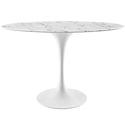 Modway 48L Artificial Marble Dining Table; White (EEI-2021-WHI)