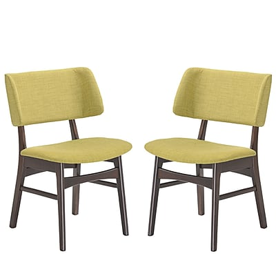 Modway Vestige Linen Dining Side Chair, Walnut Green (EEI-2024-WAL-GRN-SET)