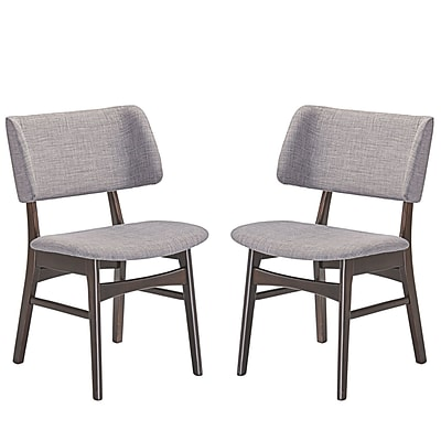 Modway Vestige Linen Dining Side Chair, Walnut Gray (EEI-2024-WAL-GRY-SET)