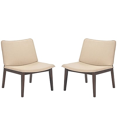 Modway Evade Linen-Upholstered Lounge Chairs, Oatmeal, 2/Set (EEI-2025-WAL-BEI-SET)