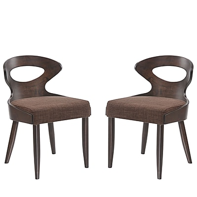 Modway Transit Linen Dining Side Chair, Set of Two, Walnut Brown (EEI-2058-WAL-BRN-SET)
