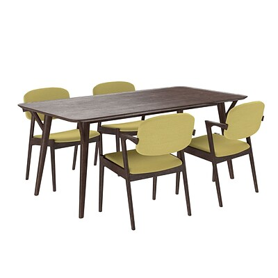 Modway 71L Wood Dining Table; Walnut/Green (EEI-2066-WAL-GRN-SET)