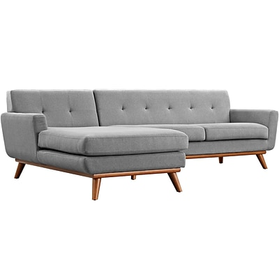 Modway Engage 43 Fabric Sectional Sofa; Gray (EEI-2068-GRY-SET)