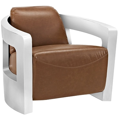 Modway Trip 32W Leather Lounge Chair, Brown (EEI-2070-BRN)