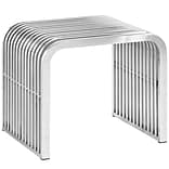 Modway Pipe Stainless Steel Bench; Silver