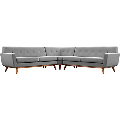 Modway Engage Fabric Sectional Sofa; Gray 3 Pieces/Set (EEI-2108-GRY-SET)