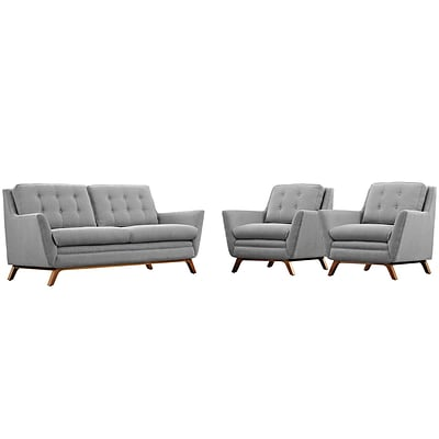 Modway Beguile 36L Fabric Living Room Set, Expectation Gray (EEI-2141-GRY-SET)