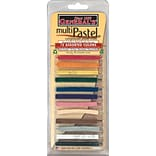 General Pencils Multi Pastel Compressed Chalk Sticks, Assorted Colors, 12/Pack