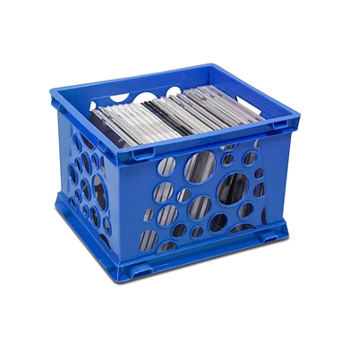 Storex Mini Crate, 6H x 7.75L x 9W, Blue, 3/Set (STX61595U03C)