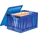 Storex Collapsible Crate with Lid, Letter/Legal Size, Blue (STX61801U01C)