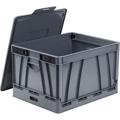 Storex Collapsible Crate with Lid, Letter/Legal Size, Gray (STX61810U01C)