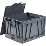 Storex Collapsible Crate with Lid, Letter/Legal Size, Gray, 4/Set (STX61810U04C)