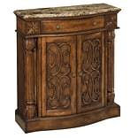 Stein World William 35.5 Accent Cabinet; Aged Pecan w/Brown Calico Marble (65164)