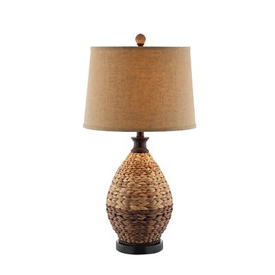 Stein World 150 Watt Weston Table Lamp; Rattan, Light and Dark Natural Coloring (99656)