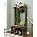 Altra Wildwood Wood Veneer Entryway Hall Tree with Storage Bench; Rustic Gray (5045096PCOM)