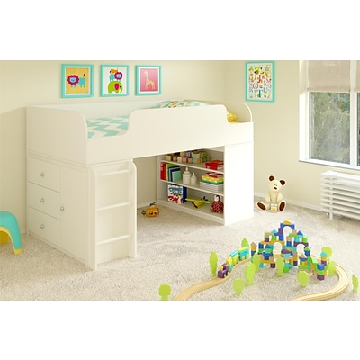 Cosco Elements Loft Bed with Bookcase and 3 Drawer Storage Organizer with Door, White (5858015PCOM)