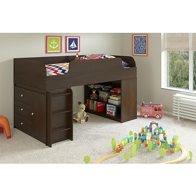 Cosco Elements Loft Bed with Bookcase and 3 Drawer Storage Organizer with Door, Resort Cherry (5858207PCOM)