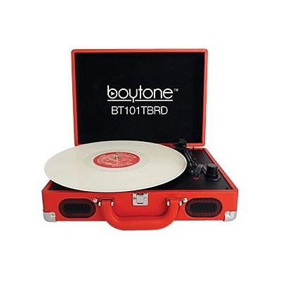 boytone  Mobile Briefcase Record Turntable; Red (BT-101TBRD)